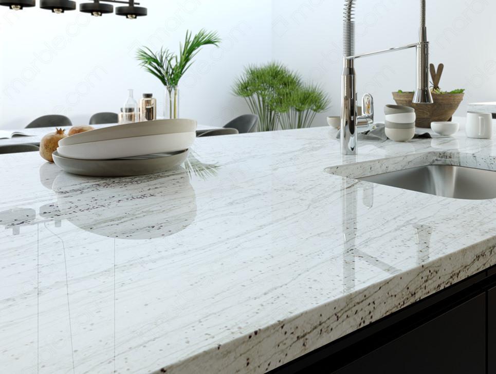 polished finish of white granite countertop