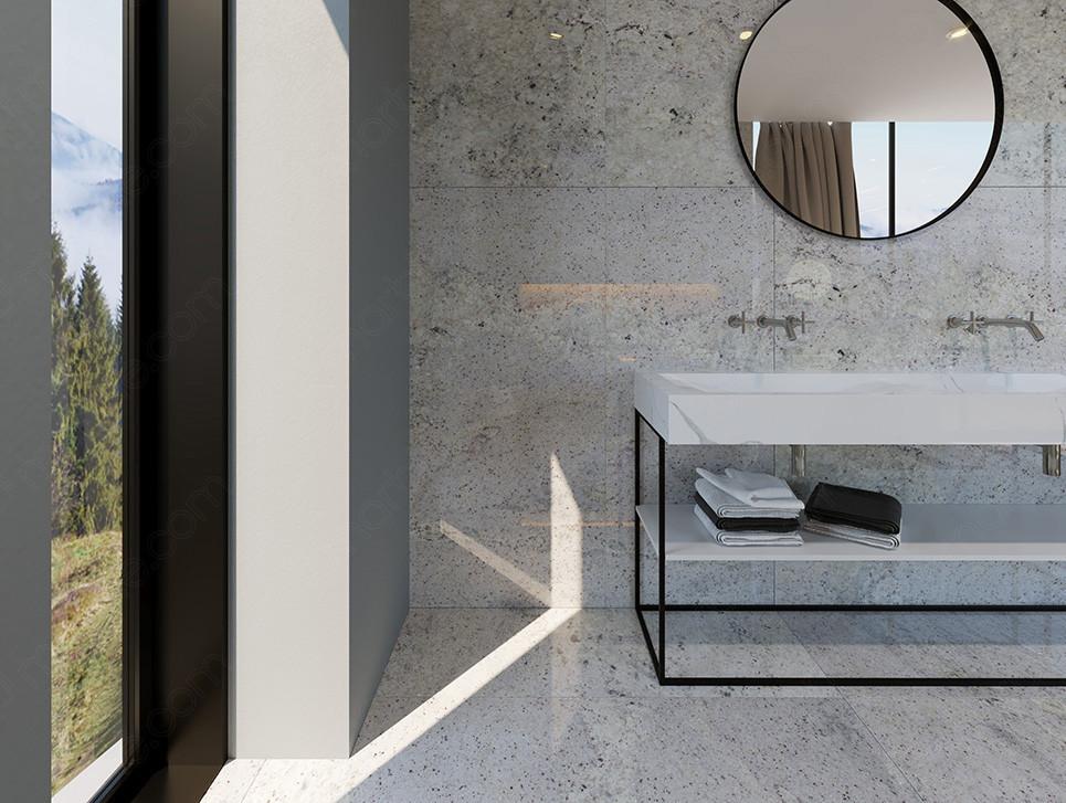 Double white quartz washbasin with round mirror