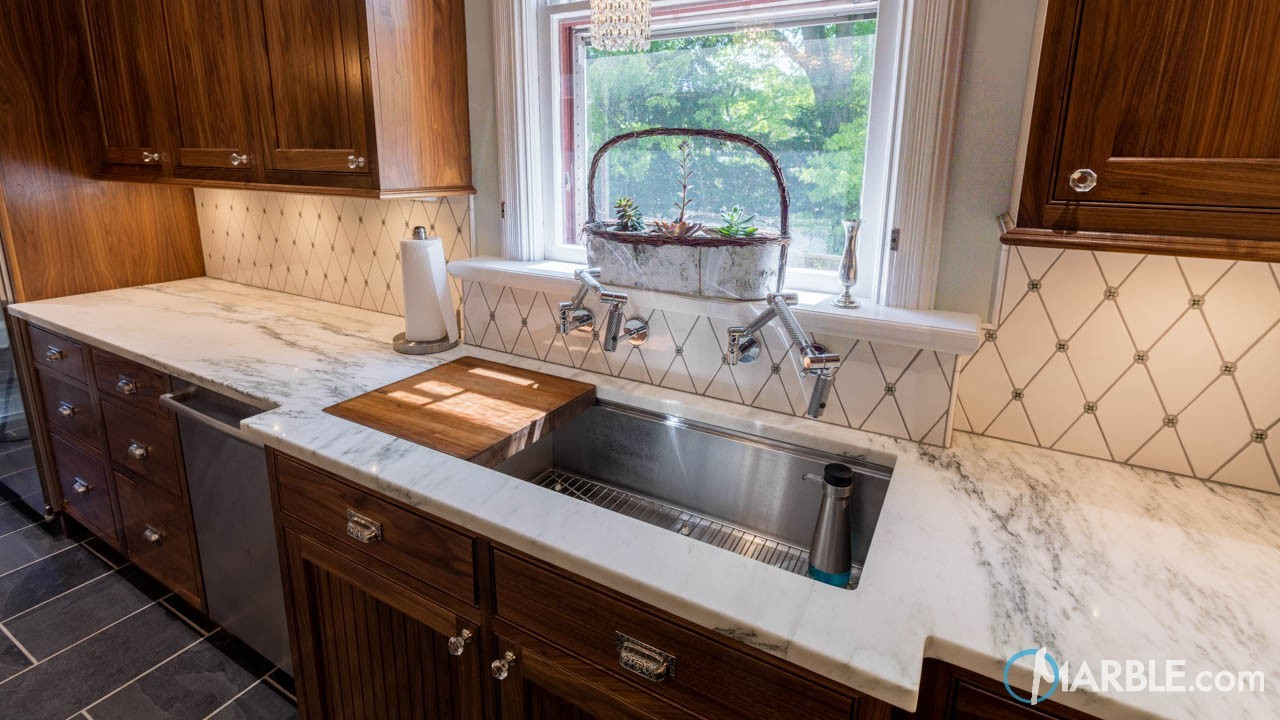 ... A Classic White Quartzite Bathroom Vanity Top Displaying Beautiful Gray  Veining, Or White Marble Counters, Cleaning On A Regular Basis Is A Must In  ...