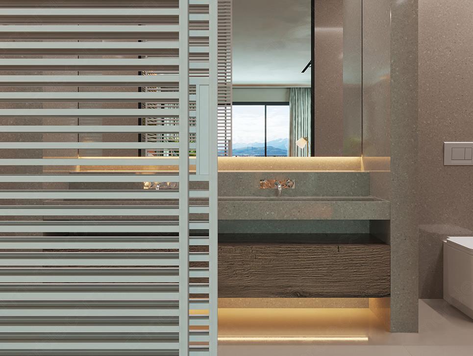 Modern bathroom with gray quartz countertop
