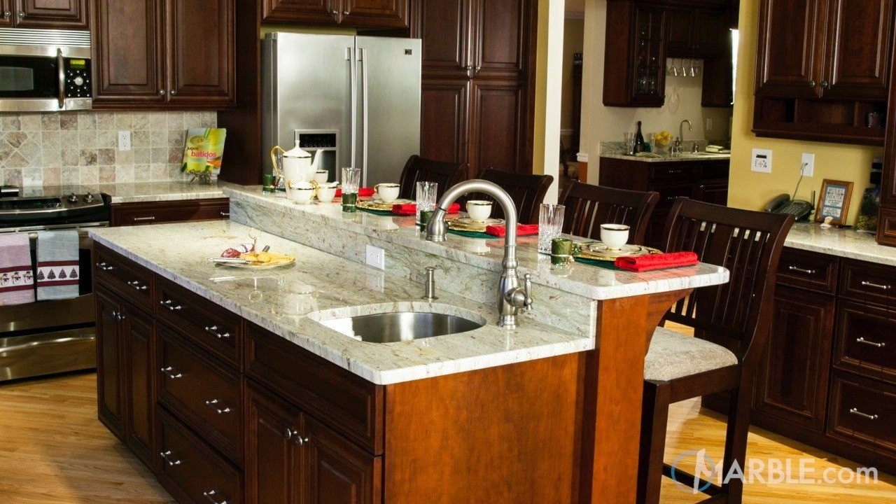 Top 5 kitchen countertop choices for dark cabinets - Kitchen design marble countertops ...