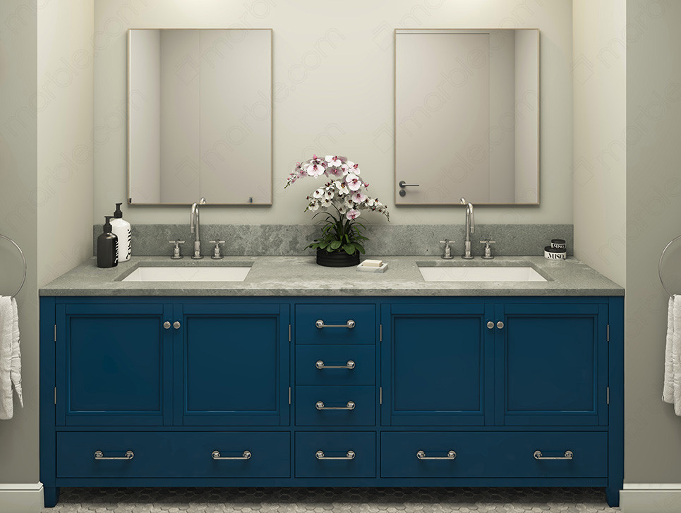 Bathroom with blue cabinets and gray quartz countertop