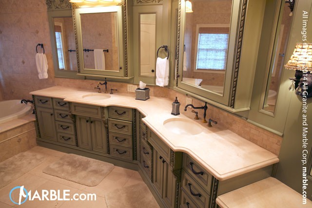Building a better bathroom from budget to countertops for Crema marfil bathroom countertop