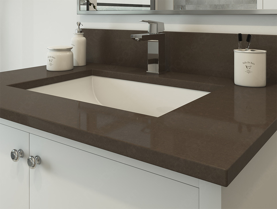 Bathroom with accessories on dark quartz countertop