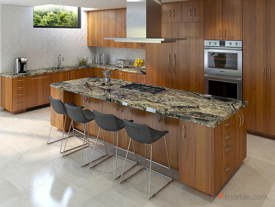 Woody kitchen with gold granite countertop