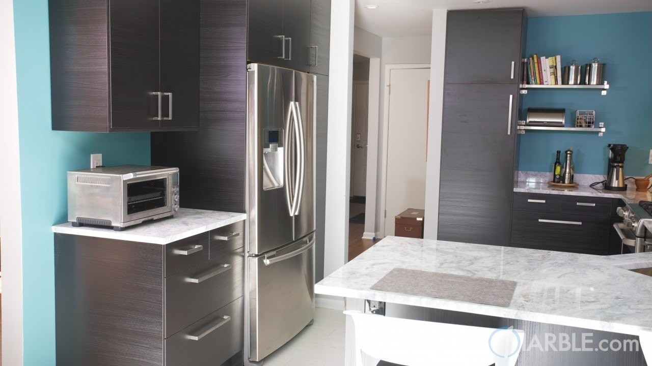 Classic White Quartzite Countertops On Dark Brown Cabinets Add A Nice  Modern Touch To This Room