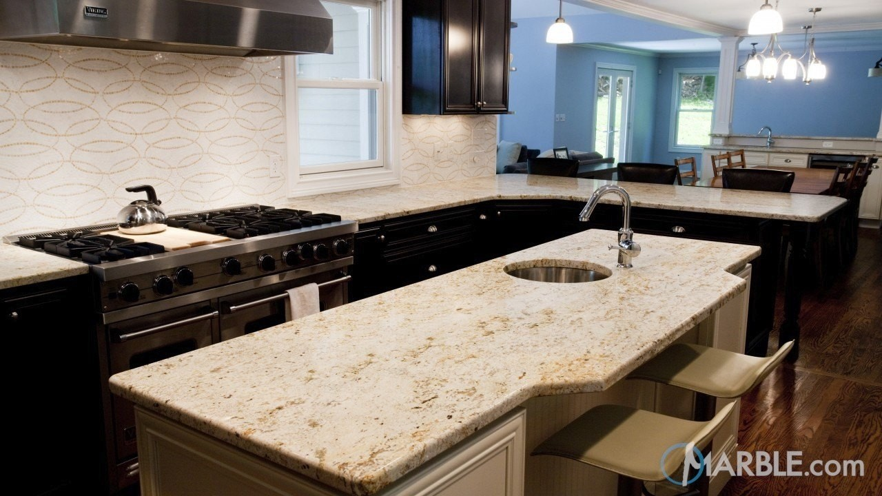 Colonial gold granite light beige natural countertop stone - A Natural Stone Countertop Such As Colonial Gold Granite Shown Below Would Be Another Great Addition With Its Light Sand Coloring And Blue Gray Veining
