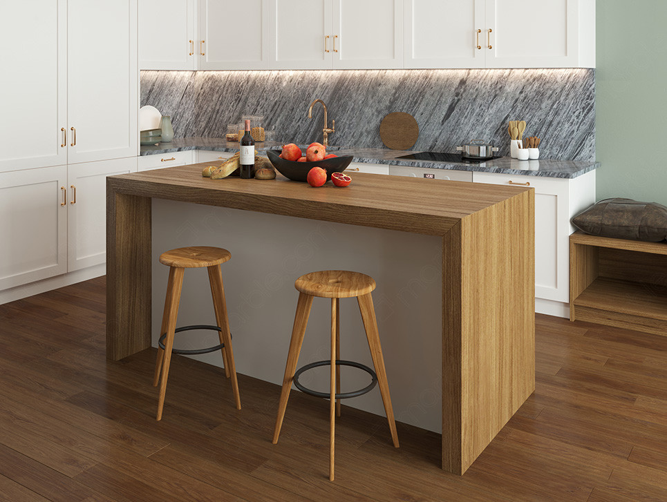 wood  version of a waterfall countertop