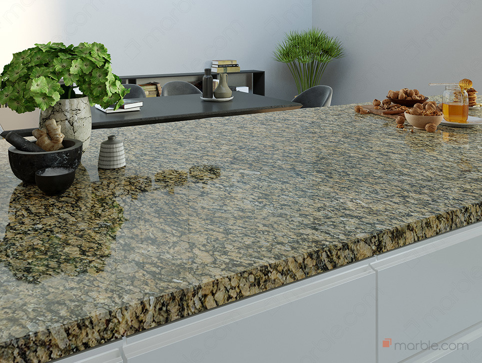 White cabinets with a brown cultured granite countertop