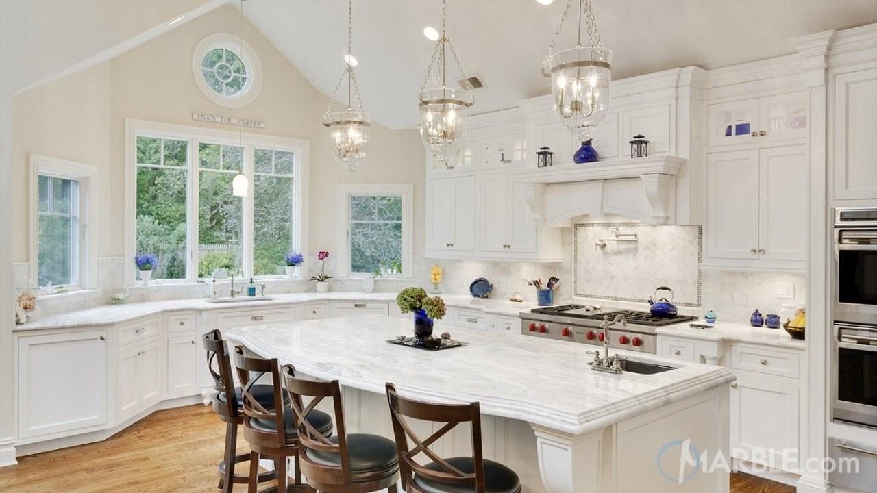 Classic White Quartzite Popular Stone Kitchen Design