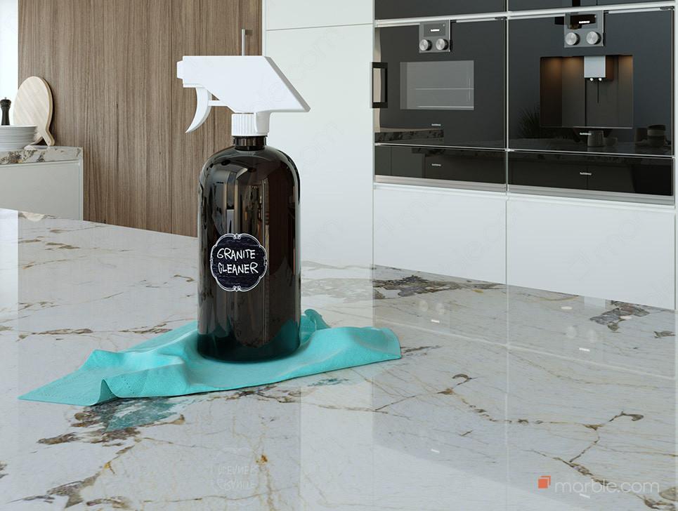 granite cleaner bottle on shiny countertop