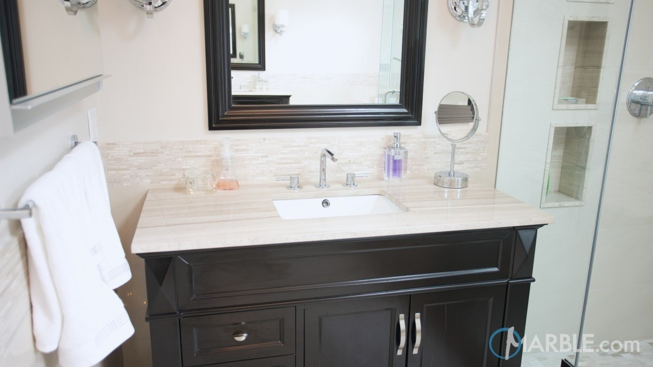 Bathroom of the Day; Silver Travertine; design inspiration