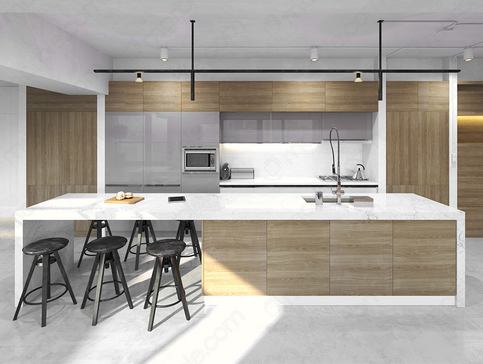 waterfall countertop in a spacious modern kitchen interior