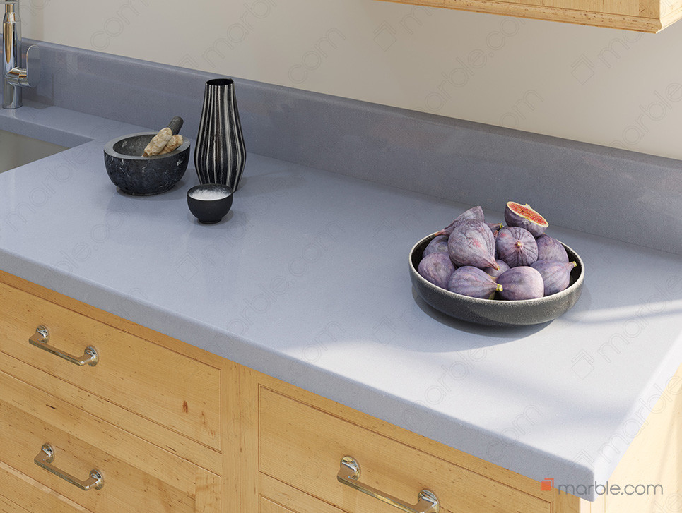 Light wood cabinets with quartz countertop