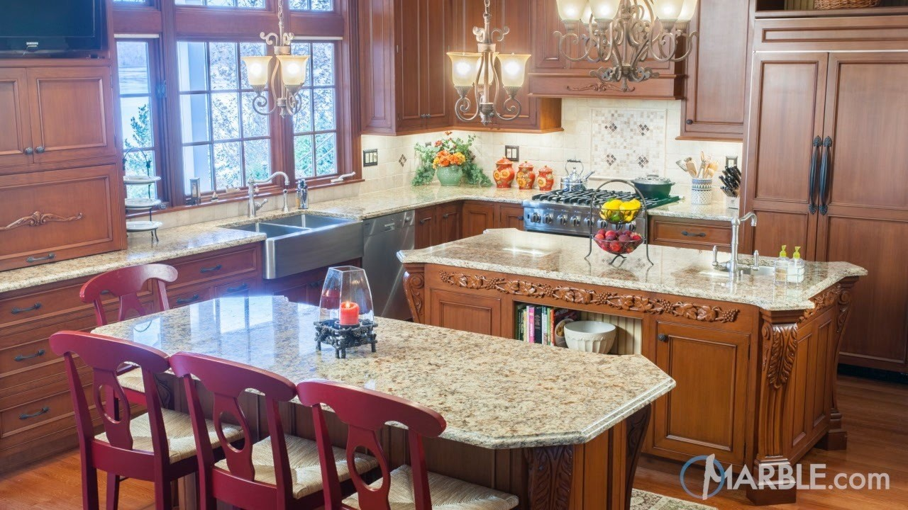 Granite Is A Great Countertop Meterial For Large High Traffic Kitchens Like  This One.