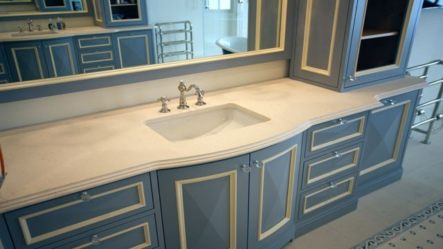 mirror with bathroom contemporary transitional countertop beige countertops stone limestone
