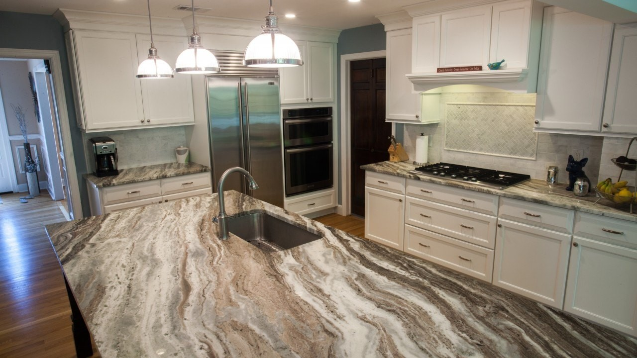 The Fantasy Brown Quartzite Kitchen Island Countertop Is An Attractive  Piece In This Kitchen