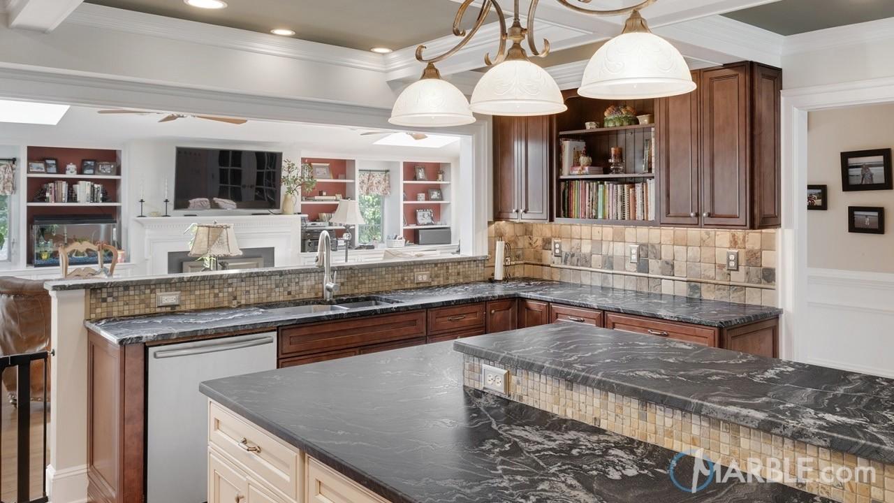Black Granite Counters With Dark Cabinets
