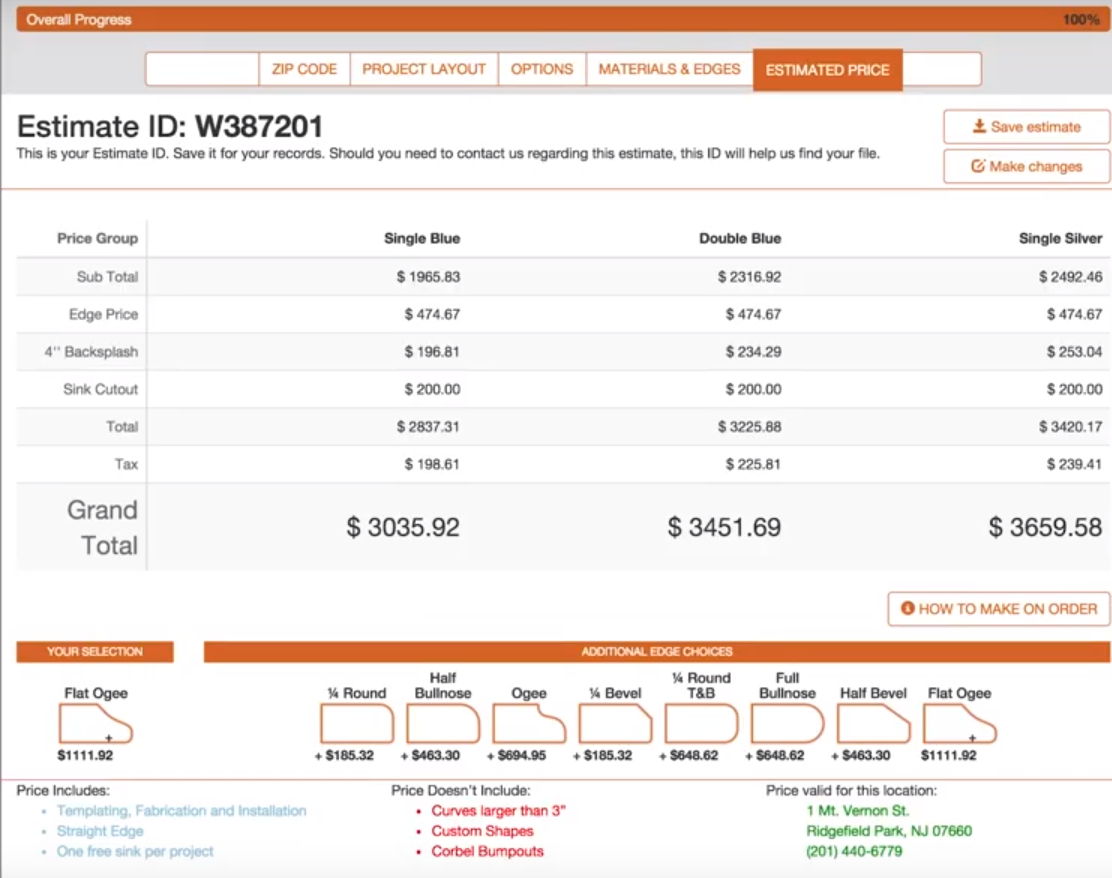 countertop estimate tool  easily calculate cost of new