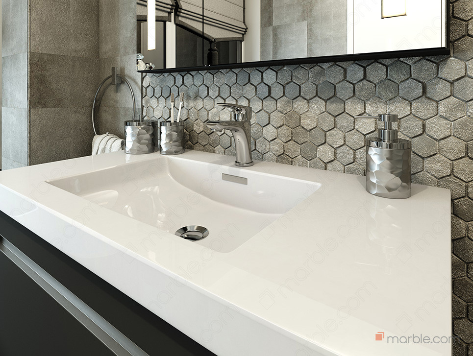 Pure white quartz counter top with back-splash of hexagon tiles