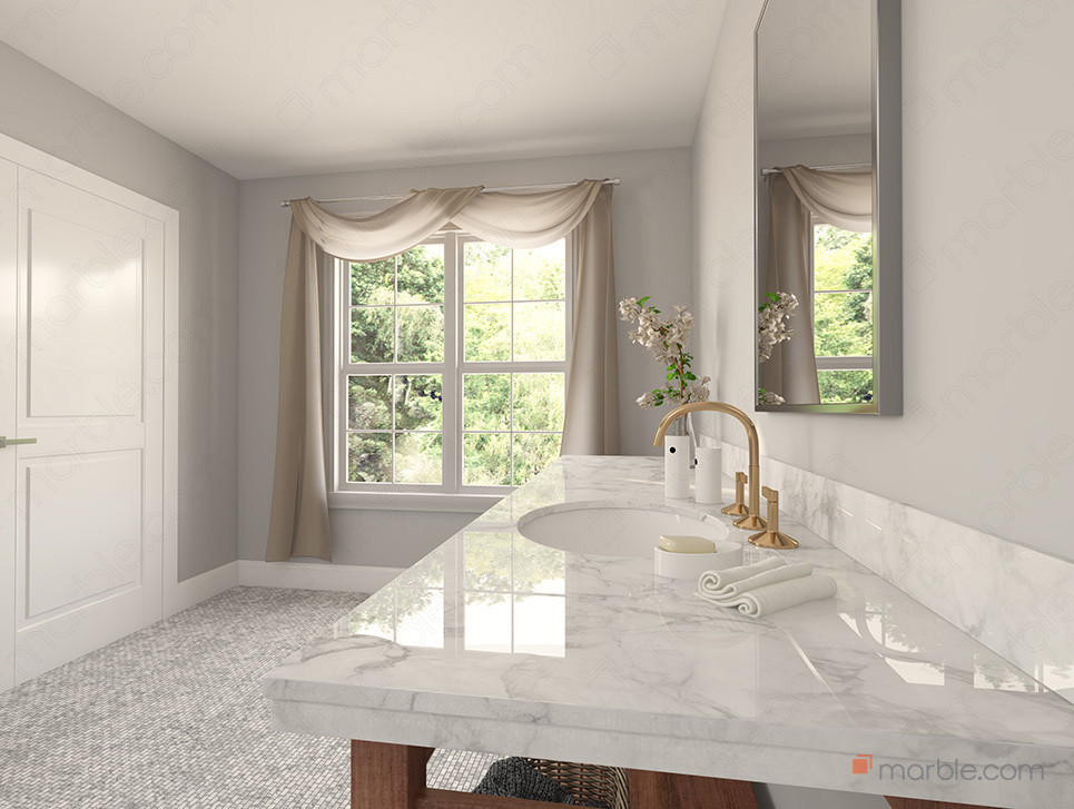 Bathroom with vanity mirror and gold faucet on white quartz countertop