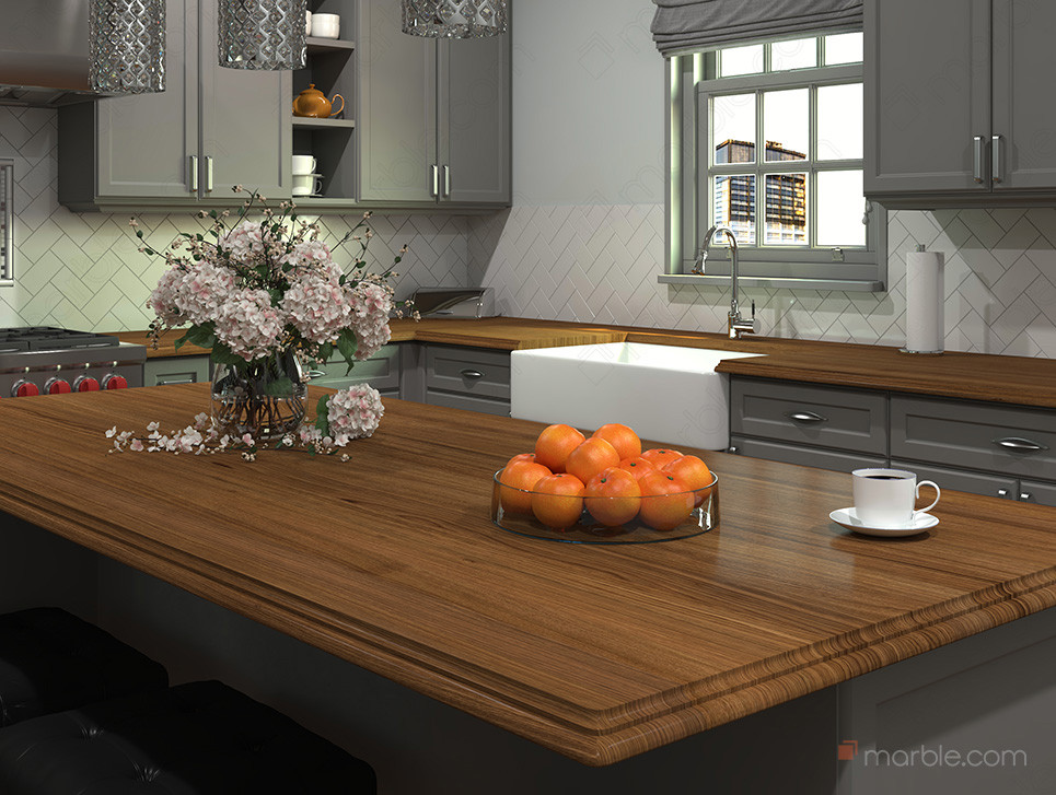 Grey cabinets with wood countertop