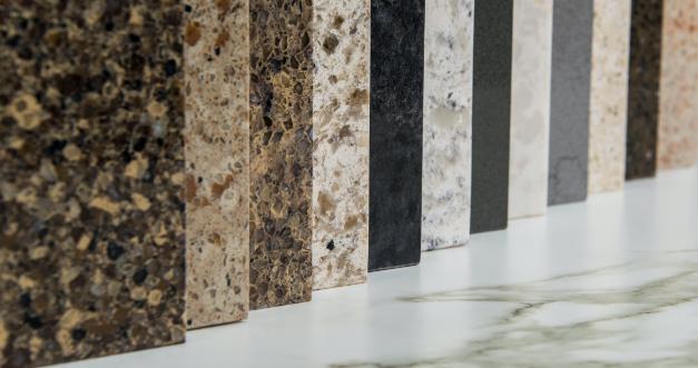 closeup of material slabs