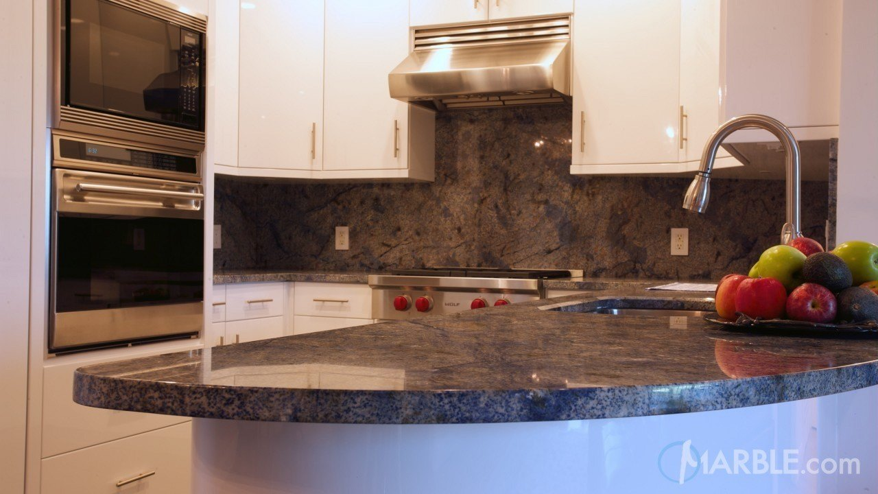 Blue Bahia Countertop in a Modern Kitchen | Marble.com