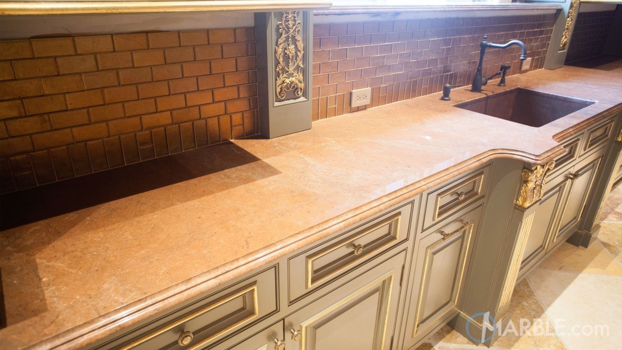 Breccia Montana Quartzite with a Custom Stone Sink | Marble.com