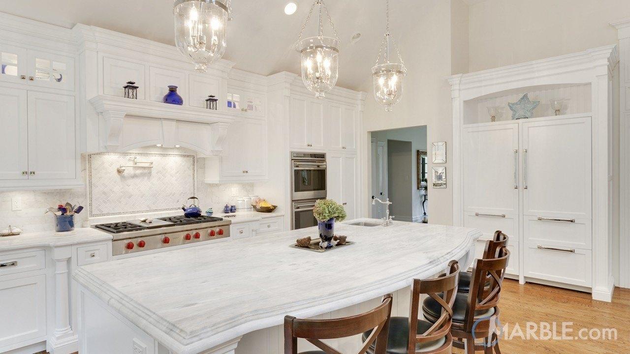 Classic White Quartzite Countertop In A Beautiful Dream Kitchen