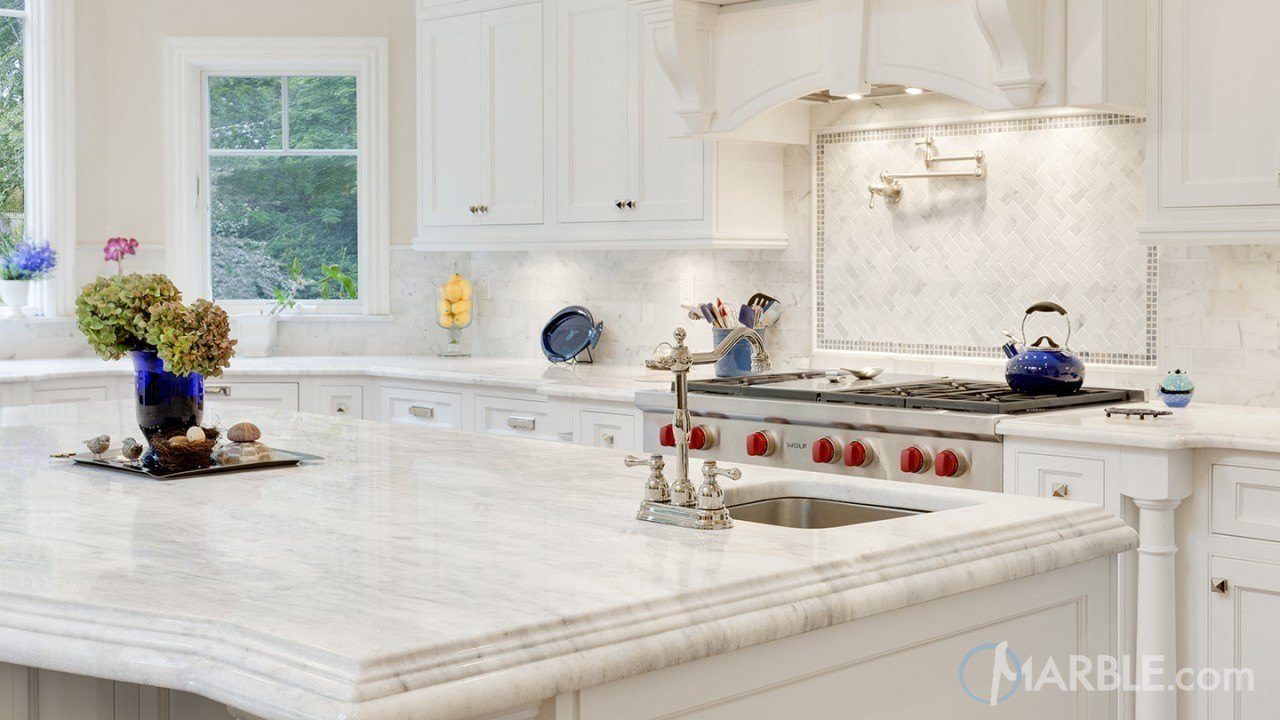 Classic White Quartzite Countertop In A Beautiful Dream Kitchen | Marble.com