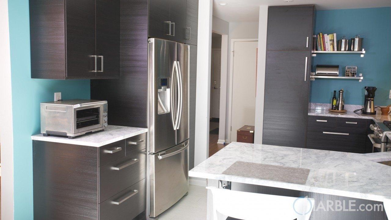 Classic White Quartzite Countertop In A Stunning Modern Kitchen   Marble.com