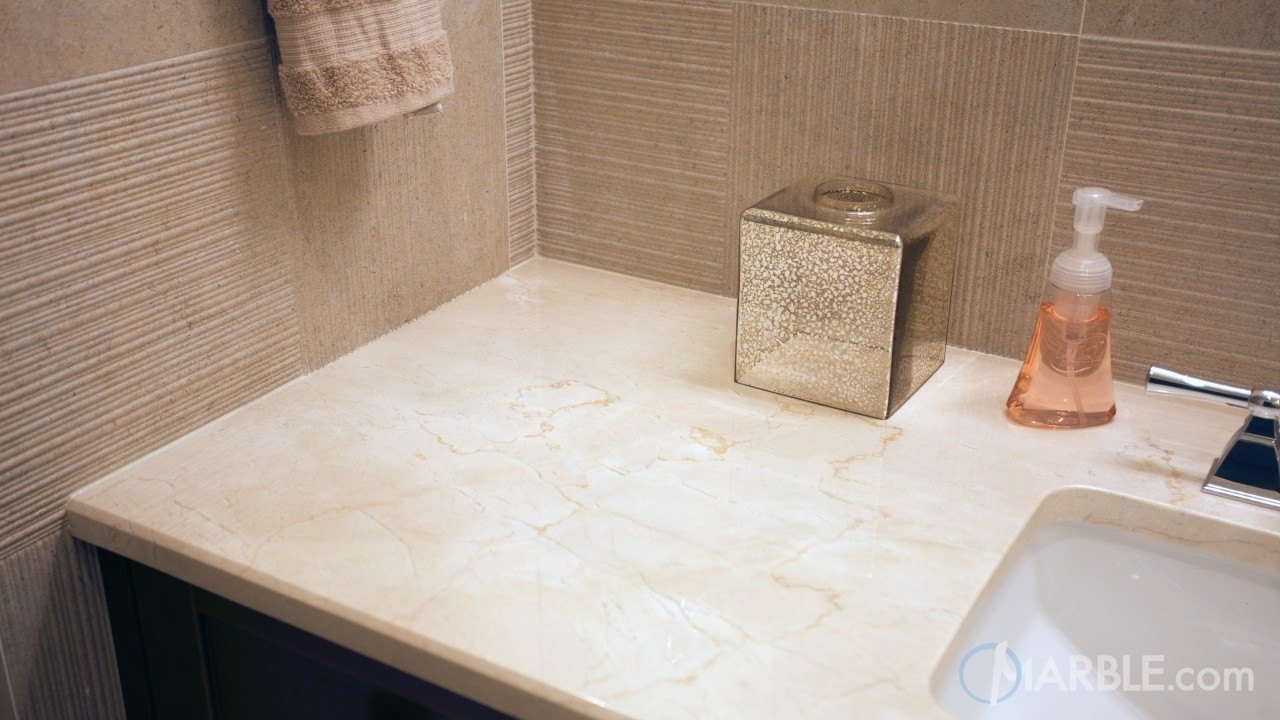 Crema Marfil Marble Countertop In A Classic Bathroom | Marble.com