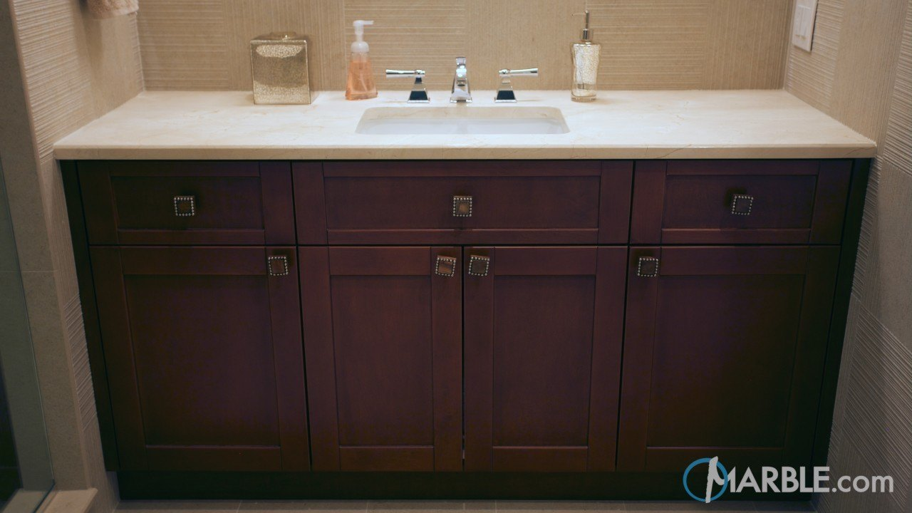 Crema Marfil Marble Countertop In A Classic Bathroom ...