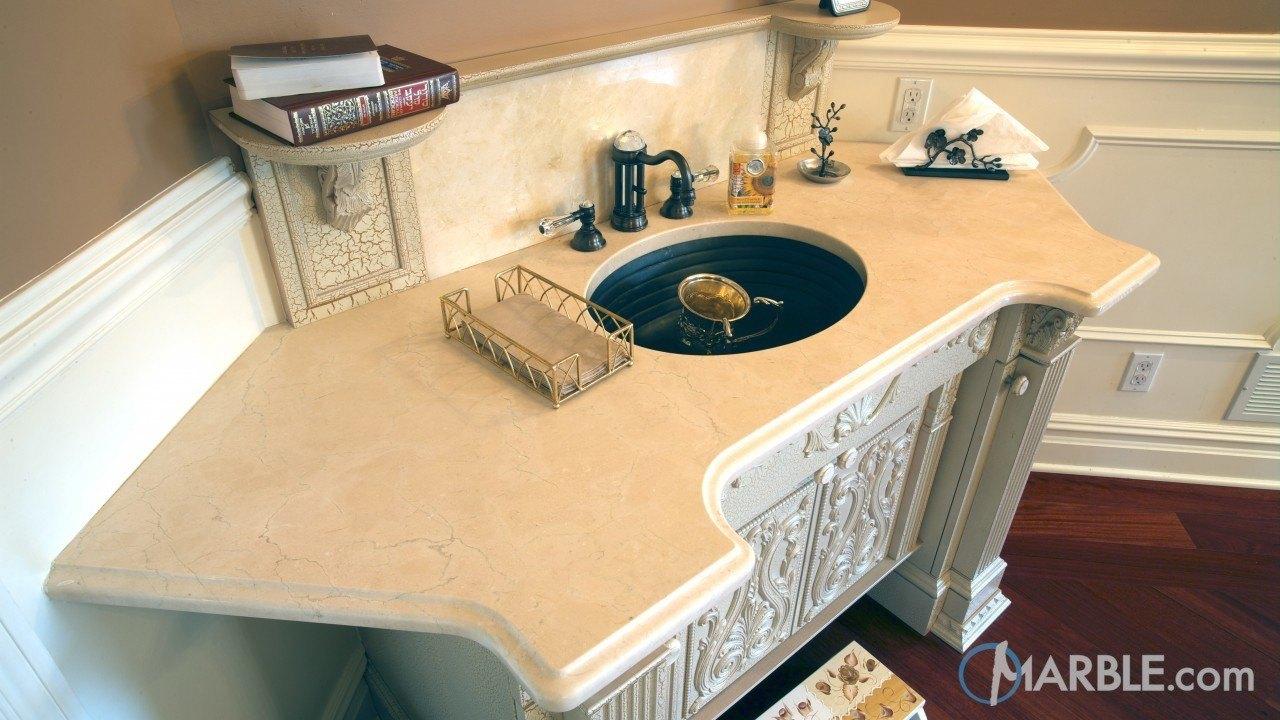 Crema Marfil Marble Countertop Wash Station | Marble.com