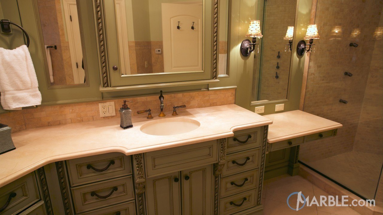Crema marfil marble master bathroom countertop for Marble master bathroom