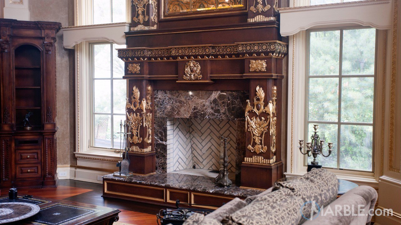 Emperador Dark Fireplace Surround Marble Com