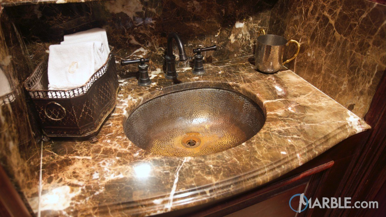 Emperador Light Marble Wash Station | Marble.com