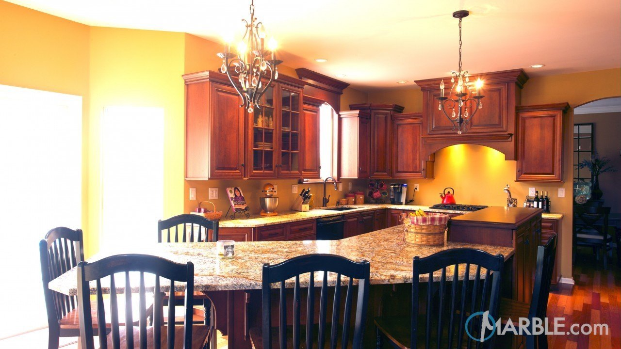 Golden Silver Granite Kitchen | Marble.com