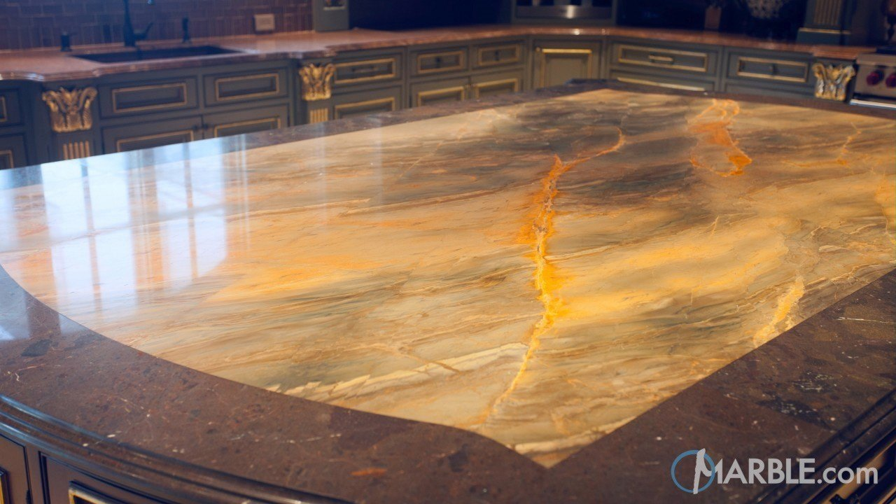 Giallo Macauba Granite Countertop & Copper Dune Granite Countertop | Marble.com
