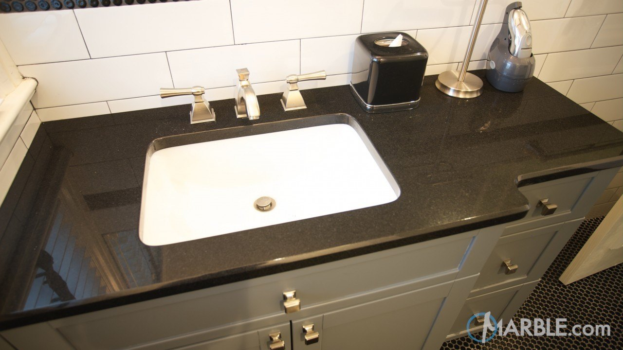 Absolute black granite bathroom vanity - Black marble bathroom countertops ...