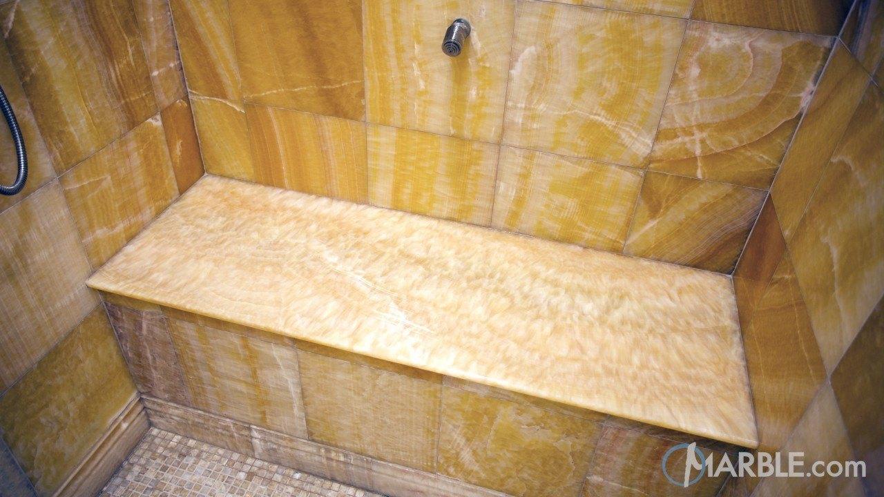 Honey Onyx Shower Seat (Bench) | Marble.com