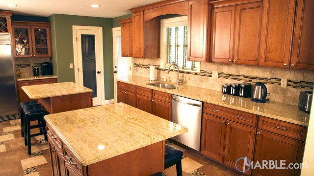 Red Dragon Granite Counters In A Country Kitchen