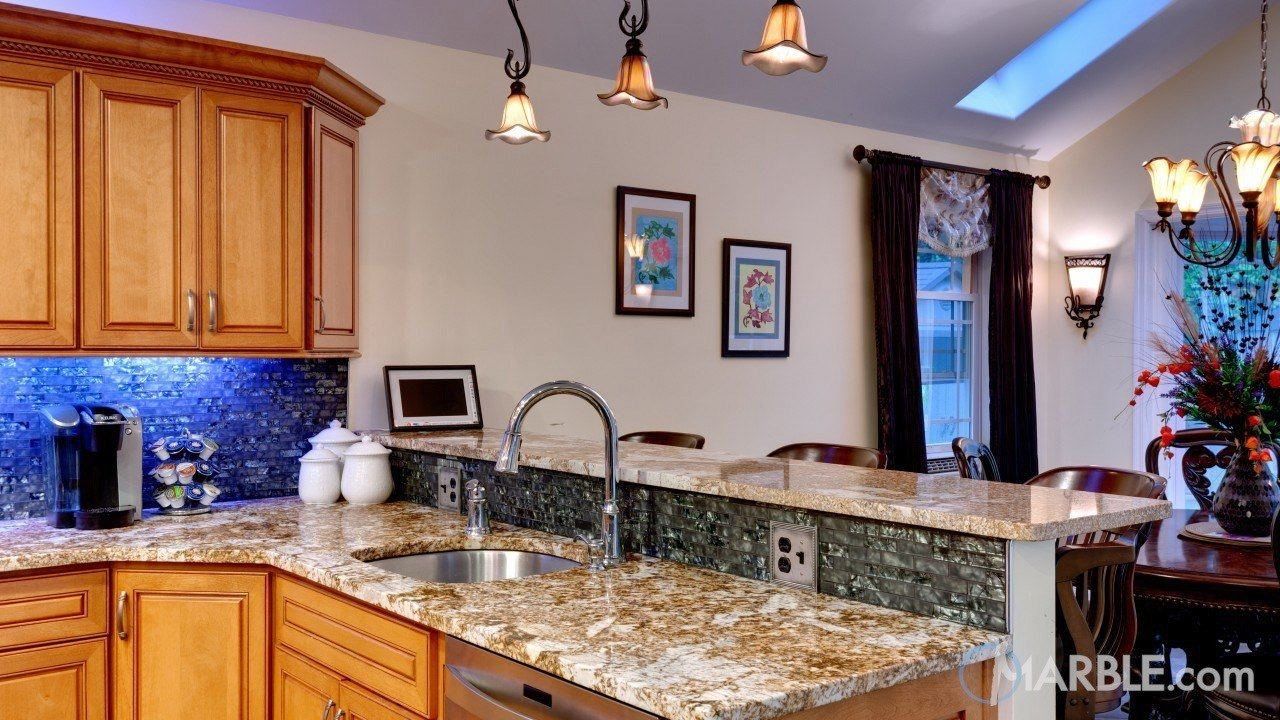Juparana Patchwork Granite Countertop With A Unique Backsplash | Marble.com