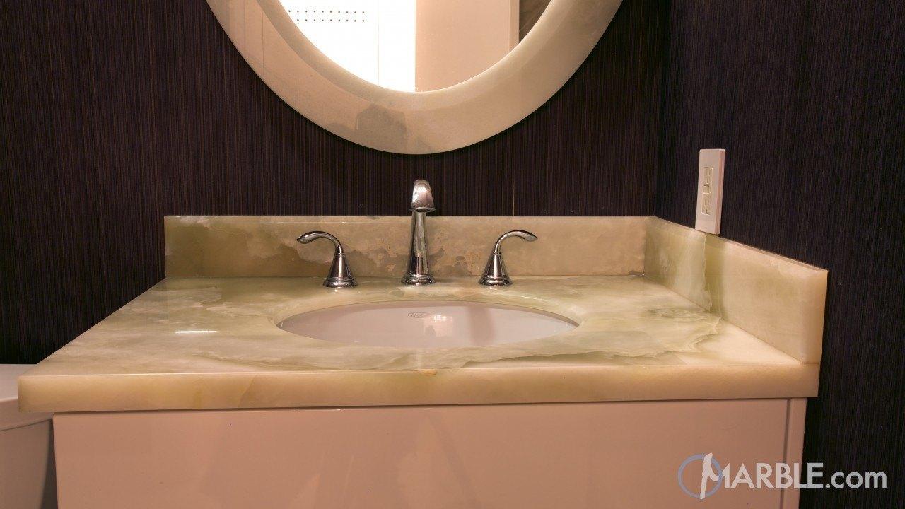 Light Pistachio Onyx Bathroom | Marble.com