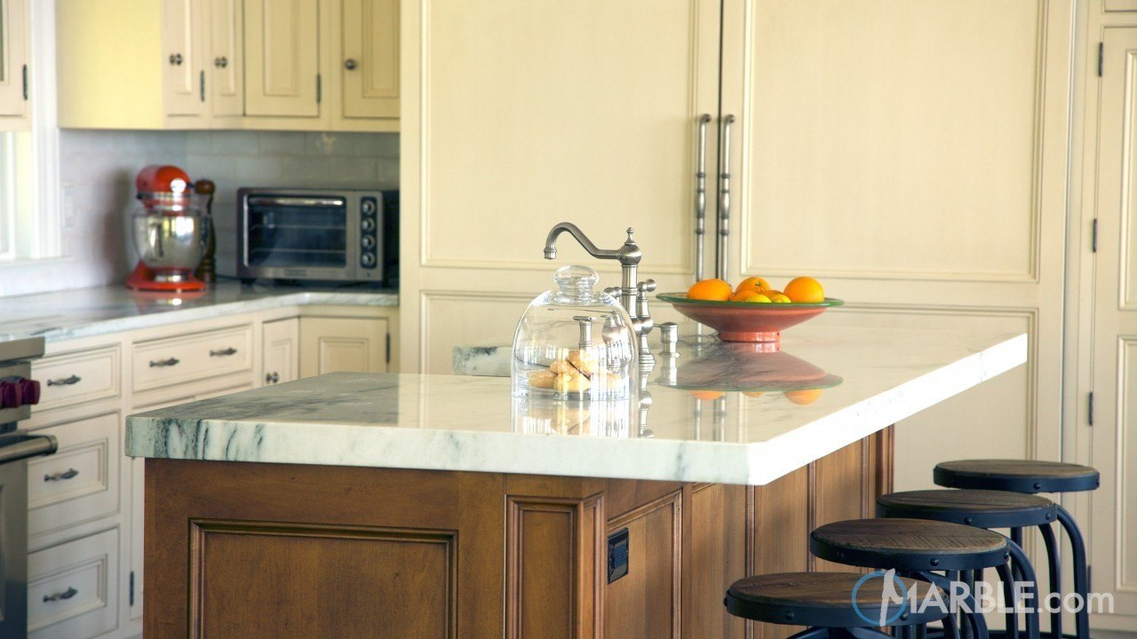 Mountain White Danby Marble Counters | Marble.com