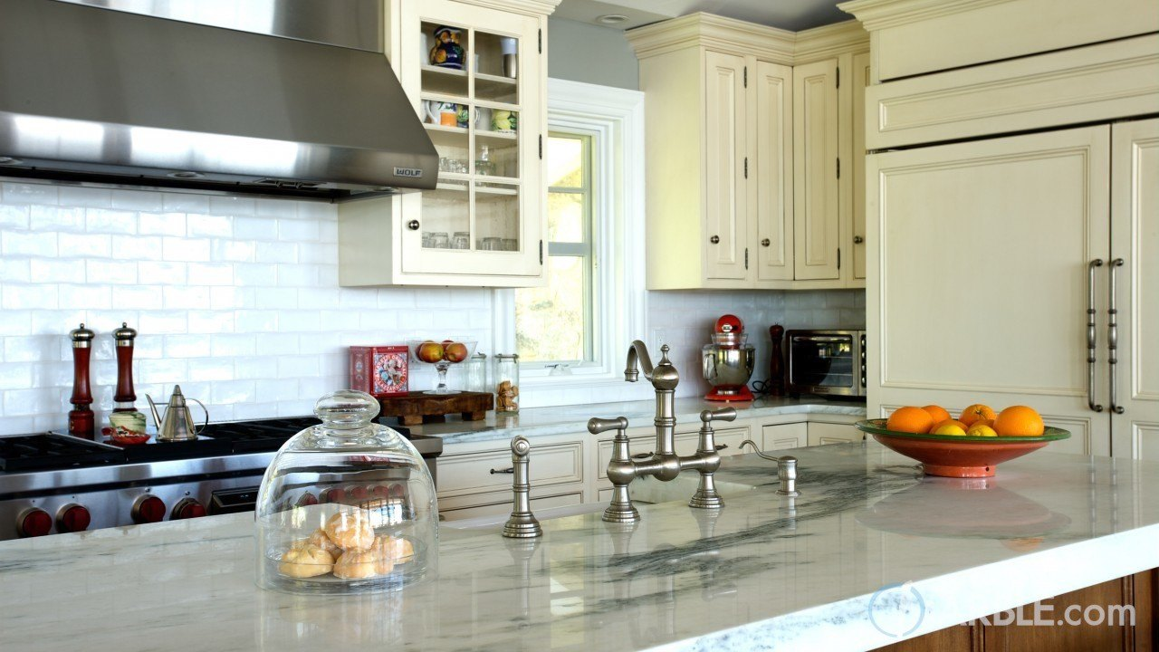 Mountain White Danby Marble Kitchen | Marble.com