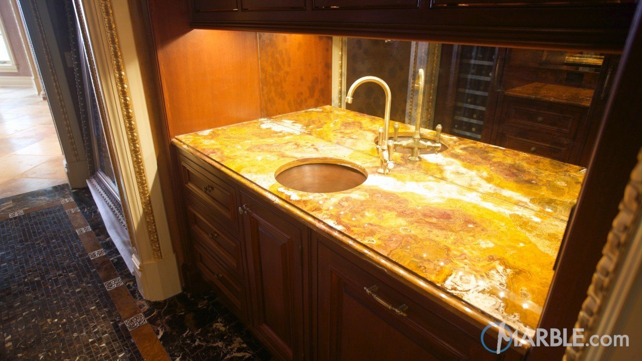 Multi Brown Gold Onyx Butler Pantry Countertop