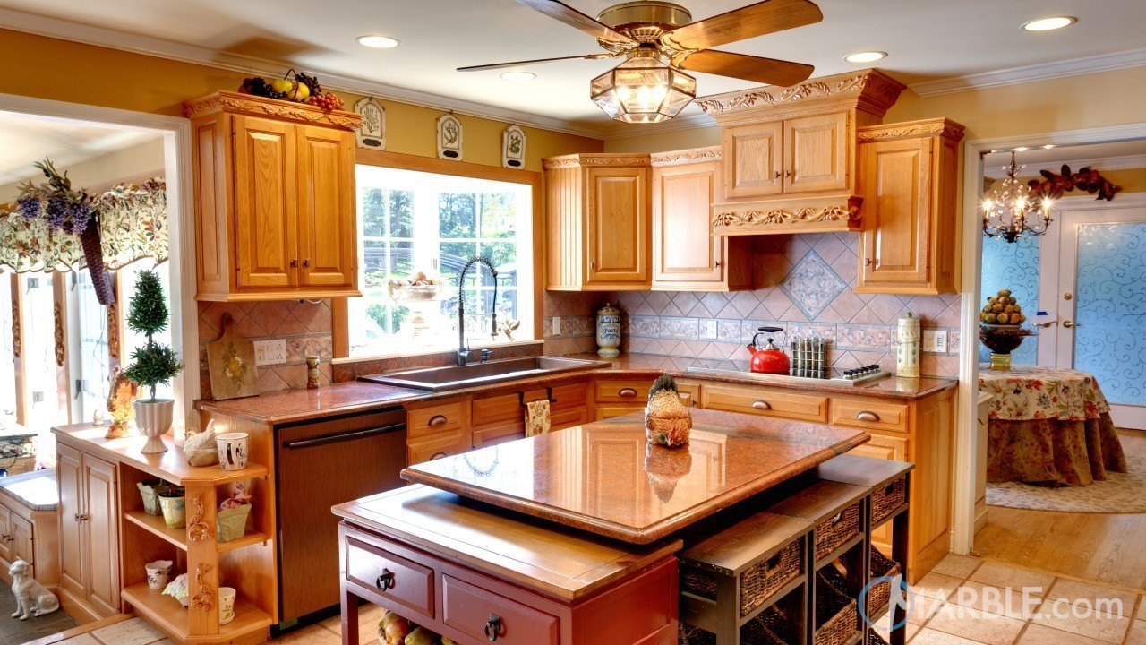 Red Dragon Granite Counters In A Country Kitchen | Marble.com