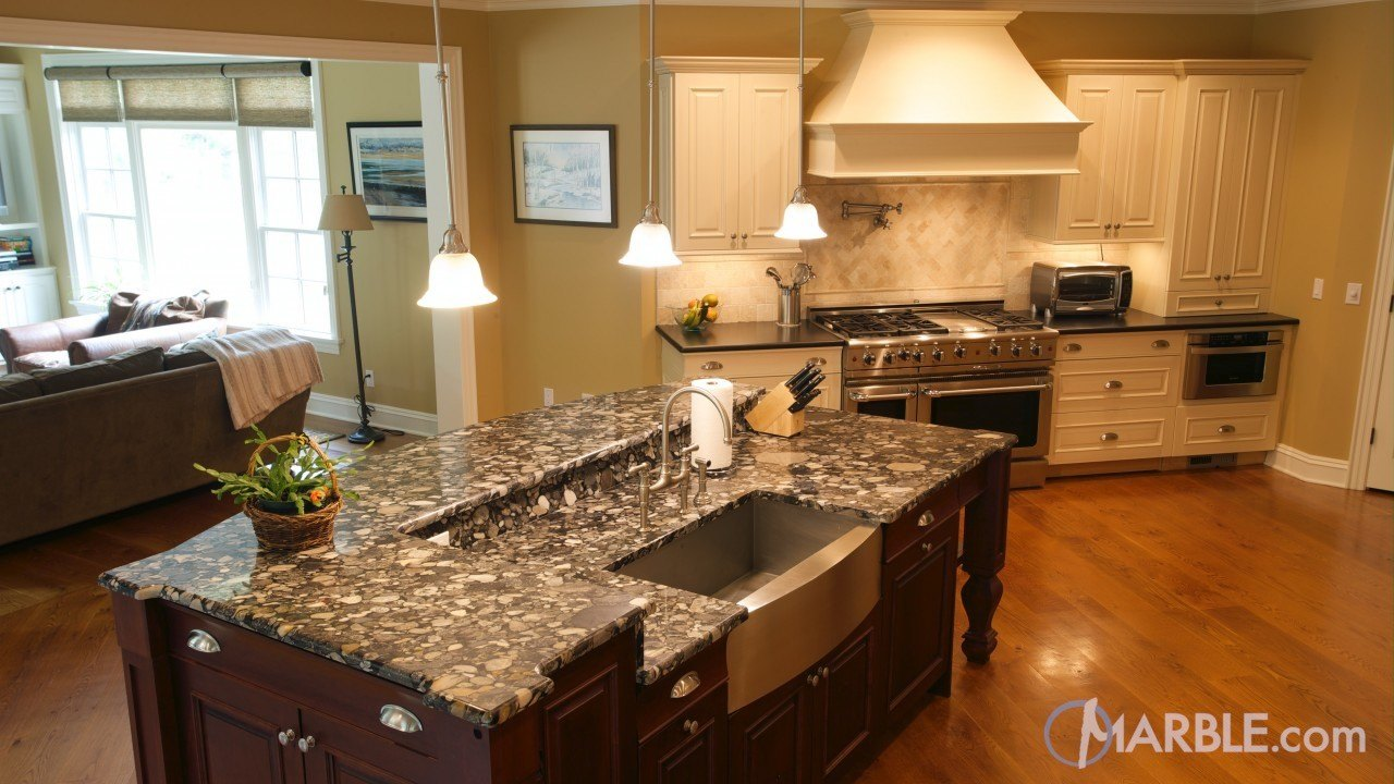 White Black Mosaic Granite Kitchen | Marble.com
